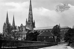 The Cathedral, South East From Dam Street c.1880, Lichfield