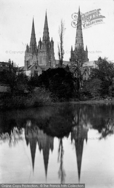 Photo of Lichfield, The Cathedral South West From Pool c.1884