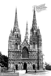 The Cathedral, West Front 1887, Lichfield