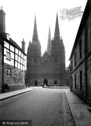 The Cathedral, West Front c.1955, Lichfield