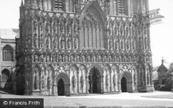 Lichfield, The Cathedral, West Front c.1955