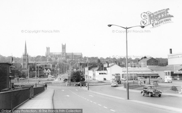 Photo of Lincoln, Broadgate And Roundabout c.1965