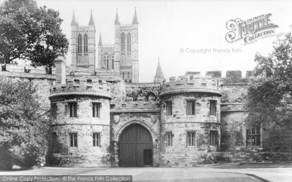 Photo of Lincoln, Castle Gateway And Cathedral c.1955