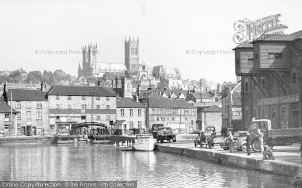 Photo of Lincoln, Cathedral From Brayford c.1950