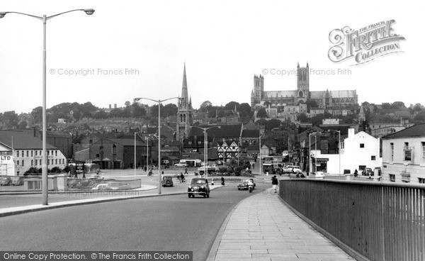 Lincoln, Cathedral from Pelham Bridge c1960