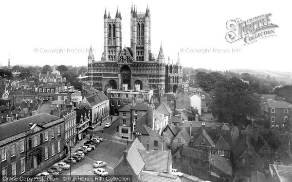 Photo of Lincoln, Cathedral From The Castle c.1965