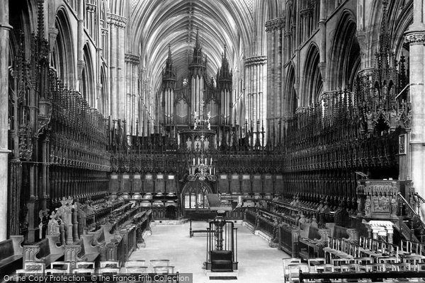 Photo of Lincoln, Cathedral, The Choir Looking West 1890