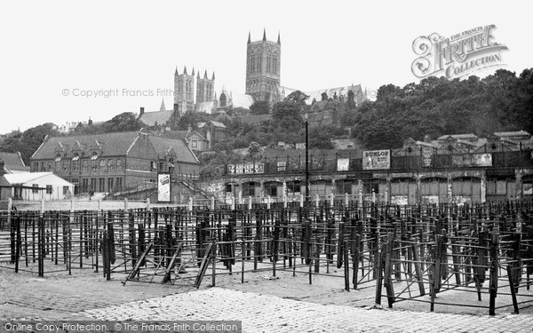 Lincoln, Cattle Market and Cathedral c1950