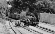 Littlehampton, Men Fixing The Miniature Railway c.1955