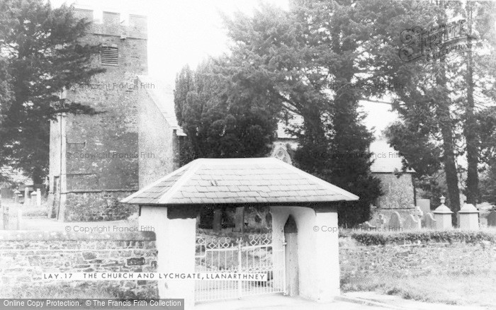 Photo of Llanarthney, St David's Church And Lychgate c.1955