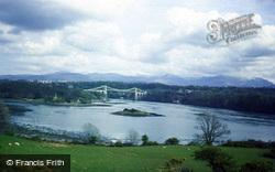 Menai Bridge From Holyhead Road 1987, Llanfair Pwllgwyngyll