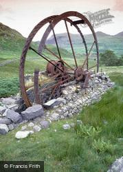 Llanfihanger Y Pennant, Cwm Ciprwth Copper Mine, Waterwheel c.1985, Llanfihangel-Y-Pennant