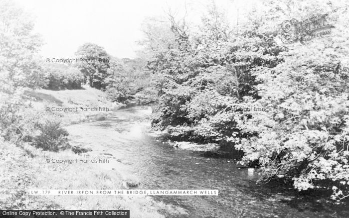 Photo of Llangammarch Wells, River Irfon From The Bridge c.1955