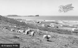 Llangennith, Caravan Site And Worms Head c.1955