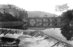 Llangollen, Royal Hotel, Bridge And Weir 1901