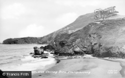 Llangrannog, Beach And Carreg Bica c.1955