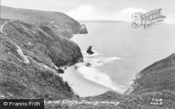 Llangrannog, Beach And Cliffs c.1955