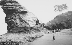 Llangrannog, Carreg Bica And Entrance To Cilborth c.1960
