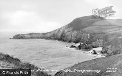 Llangrannog, Ysgland Beach And Cliffs c.1955