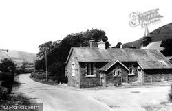 Llanwnog, School And Church Of St Gwynog c.1955