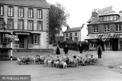 Driving Sheep Through The Square c.1930, Llanwrtyd Wells