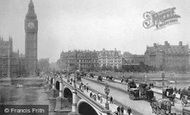 London, Clock Tower And Westminster Bridge c.1890