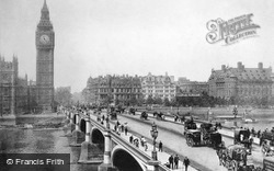 Clock Tower And Westminster Bridge c.1890, London