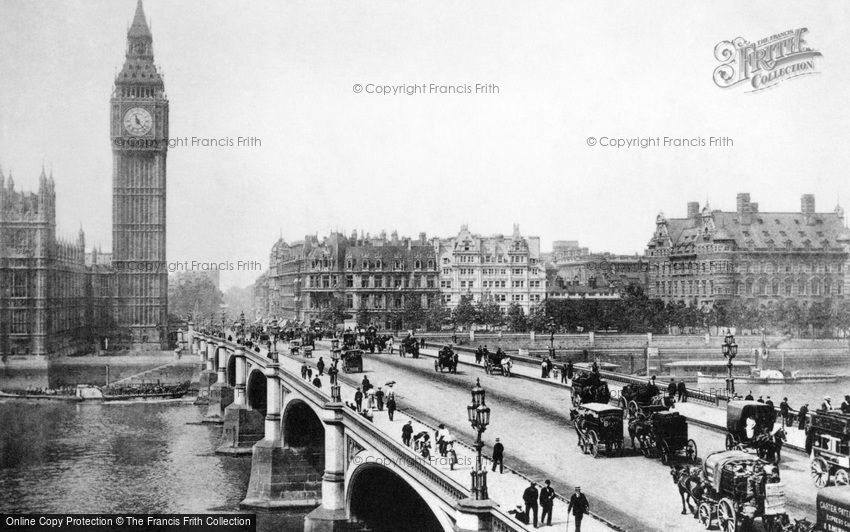 London, Clock Tower and Westminster Bridge c1890