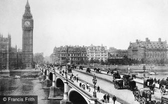 London, Clock Tower and Westminster Bridge c1890