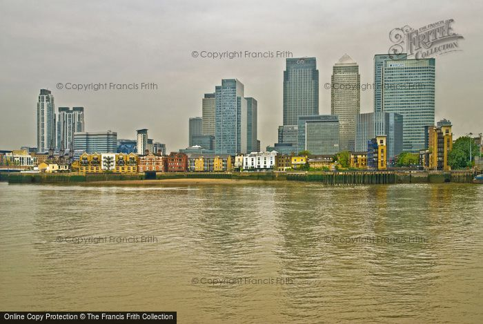 London, Docklands, Canary Wharf From The Greenwich Peninsular 2010