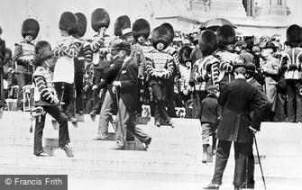 London, Drummers of the Coldstream Guards by the Albert Memorial 1897