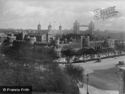 London, The Tower Of London And Tower Bridge c.1920