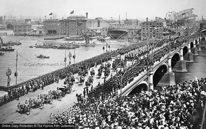 Photo of London, Westminster Bridge, Queen Victoria's Diamond Jubilee Day 1897