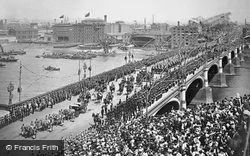 Westminster Bridge, Queen Victoria's Diamond Jubilee Day 1897, London
