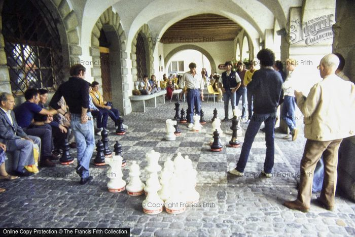 Photo of Lucerne, Playing Chess Under Town Hall 1983