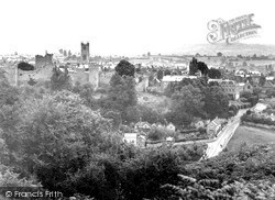 Ludlow, The Castle And Clee Hill From Whitecliff 1949