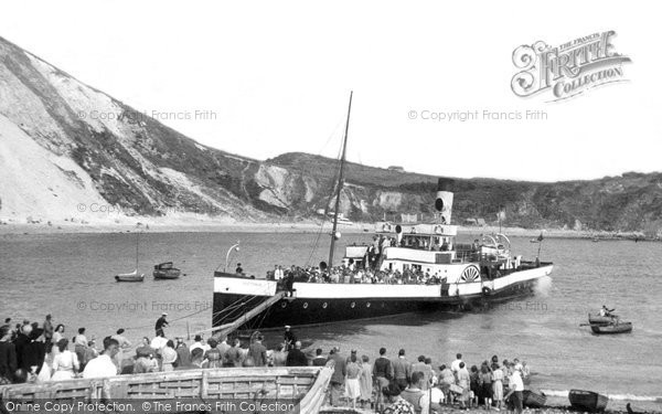 Photo of Lulworth Cove, Beach And A Steam Boat c.1955