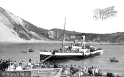 Lulworth Cove, Beach and a Steam Boat c1955