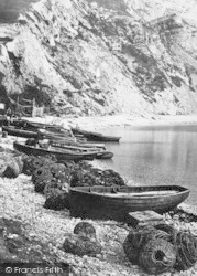 Lulworth Cove, Fishing Boats And Lobster Pots c.1877