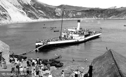 The Beach And A Steam Boat c.1955, Lulworth Cove