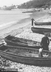 Lyme Regis, Boatmen On The Beach 1922