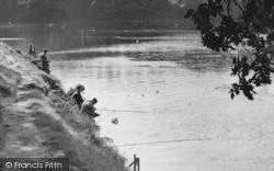 Lymm, Fishing In The Dam c.1955