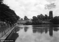 Lymm, The Lake And St Mary's Church c.1950