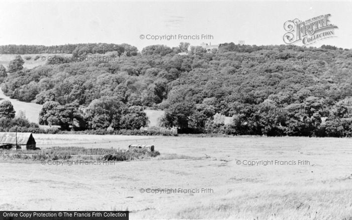 Photo of Lympne, Church And Castle From The Marshes c.1955