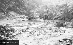 Lynmouth, Tea Garden And River Lyn, Watersmeet c.1955