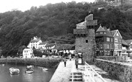 Lynmouth, The Harbour And Lighthouse c.1955
