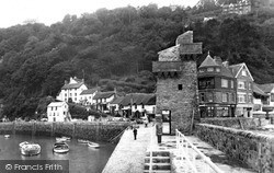 The Harbour And Lighthouse c.1955, Lynmouth