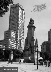 Madrid, Cervantes Monument And Modern Skyscrapers 1960