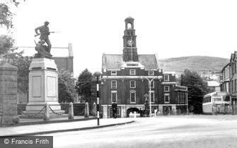 Maesteg, Town Hall and War Memorial c1955