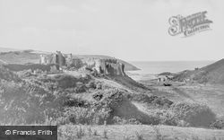 Manorbier, Castle And Bay c.1955